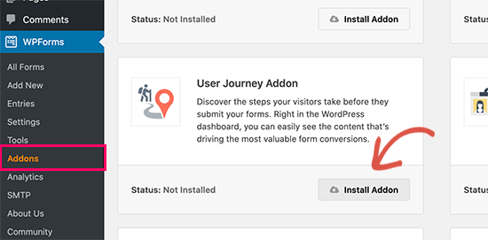 Install user journey addon in WordPress