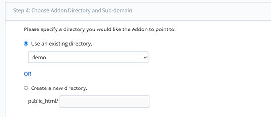 Choose directory