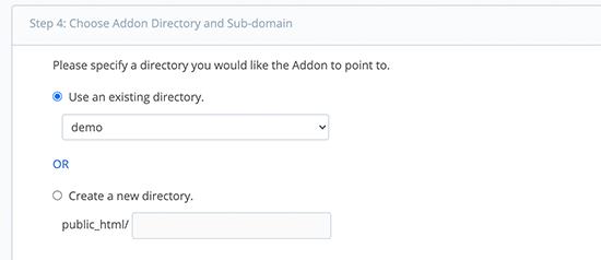 Scegli la directory