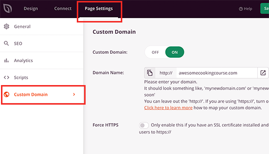 Setting custom domain for your landing page