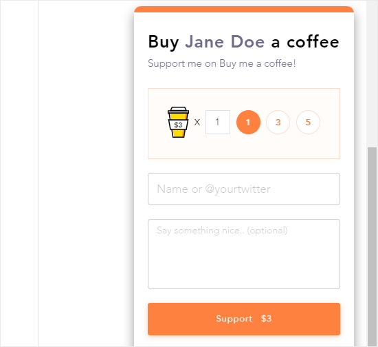 The Buy Me a Coffee widget in action on a website