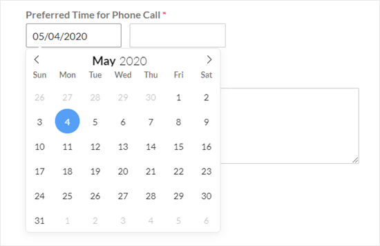The default date picker (calendar style)