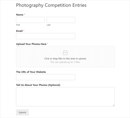 The finished file upload form live on the website
