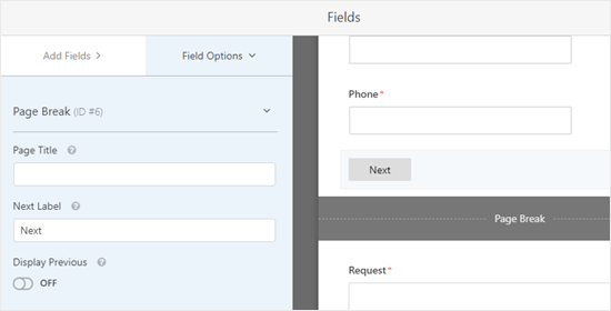 Editing the page break field in WPForms