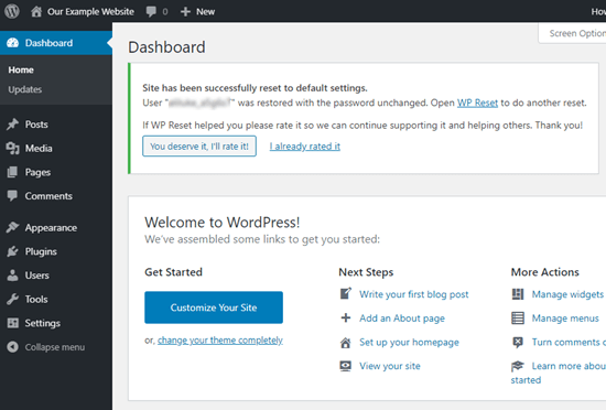 WPReset's message confirming that you've successfully reset your WordPress site