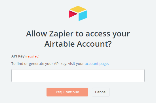 Enter your Airtable API key