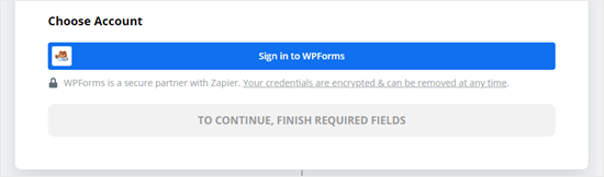 Click the button to sign into WPForms